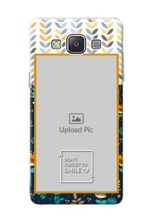 Samsung Galaxy A5 (2015) seamless and floral pattern design with smile quote Design