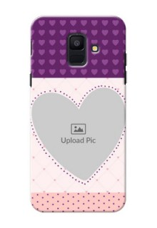 Samsung Galaxy A6 2018 Violet Dots Love Shape Mobile Cover Design