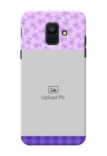 Samsung Galaxy A6 2018 Floral Design Purple Pattern Mobile Cover Design