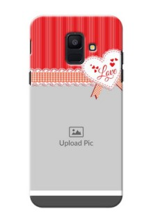 Samsung Galaxy A6 2018 Red Pattern Mobile Cover Design