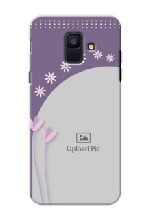 Samsung Galaxy A6 2018 lavender background with flower sprinkles Design