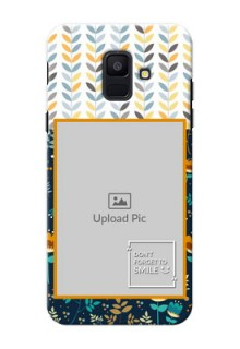 Samsung Galaxy A6 2018 seamless and floral pattern design with smile quote Design