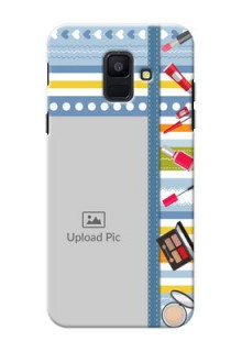Samsung Galaxy A6 2018 hand drawn backdrop with makeup icons Design