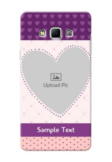Samsung Galaxy A7 (2015) Violet Dots Love Shape Mobile Cover Design