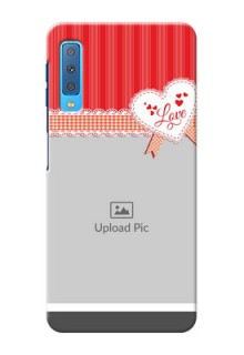Samsung Galaxy A7 (2018) phone cases online: Red Love Pattern Design