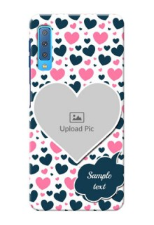 Samsung Galaxy A7 (2018) Mobile Covers Online: Pink & Blue Heart Design