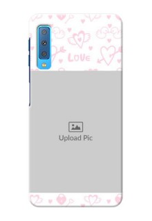 Samsung Galaxy A7 (2018) personalized phone covers: Pink Flying Heart Design