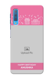 Samsung Galaxy A7 (2018) Custom Mobile Cover with Birthday Line Art Design