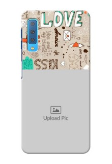 Samsung Galaxy A7 (2018) Personalised mobile covers: Love Doodle Pattern