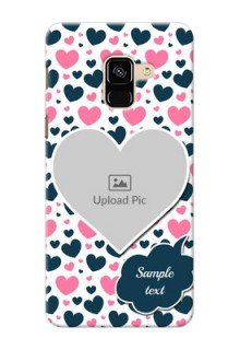 Galaxy A8 (2018) Mobile Covers Online: Pink & Blue Heart Design