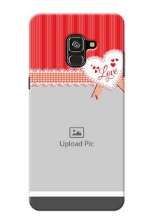 Galaxy A8 Plus 2018 phone cases online: Red Love Pattern Design