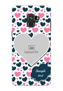 Galaxy A8 Plus 2018 Mobile Covers Online: Pink & Blue Heart Design