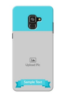 Galaxy A8 Plus 2018 Personalized Mobile Covers: Simple Blue Color Design