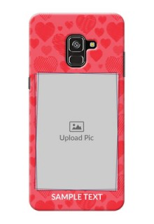 Galaxy A8 Plus 2018 Mobile Back Covers: with Red Heart Symbols Design