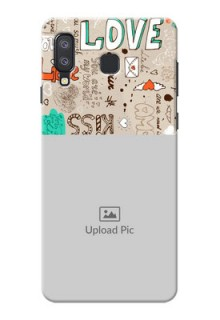 Samsung Galaxy A8 Star Personalised mobile covers: Love Doodle Pattern