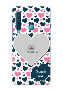 Samsung A9 2018 Mobile Covers Online: Pink & Blue Heart Design