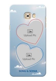 Samsung Galaxy C7 Pro couple heart frames with sky backdrop Design