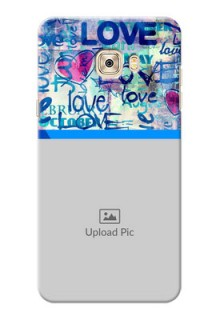 Samsung Galaxy C7 Colourful Love Patterns Mobile Case Design
