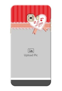 Samsung Galaxy C7 Red Pattern Mobile Cover Design