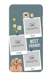Samsung Galaxy C7 3 image holder with sticky frames and friendship day wishes Design