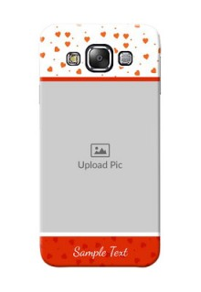 Samsung Galaxy E5 Orange Love Symbol Mobile Cover Design