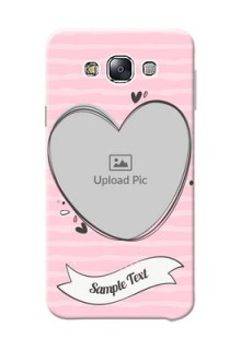 Samsung Galaxy E7 (2015) seamless stripes with vintage heart shape Design