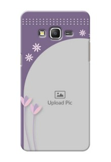 Samsung Galaxy Grand Prime lavender background with flower sprinkles Design