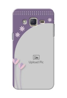 Samsung Galaxy J2 (2015) lavender background with flower sprinkles Design