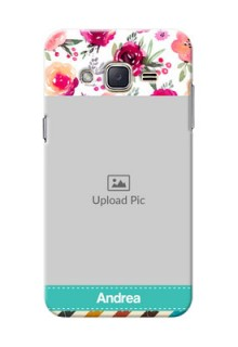 Samsung Galaxy J2 (2015) watercolour floral design with retro lines pattern Design