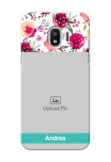 Samsung Galaxy J2 2018 watercolour floral design with retro lines pattern Design