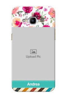 Samsung Galaxy J2 Pro (2016) watercolour floral design with retro lines pattern Design