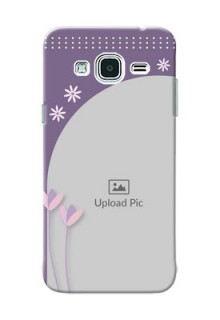Samsung Galaxy J3 lavender background with flower sprinkles Design