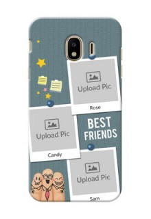Samsung Galaxy J4 (2018) 3 image holder with sticky frames and friendship day wishes Design