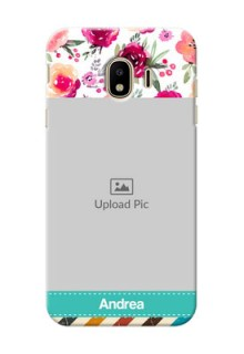 Samsung Galaxy J4 (2018) watercolour floral with retro lines pattern Design