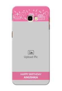 Samsung Galaxy J4 Plus Custom Mobile Cover with Birthday Line Art Design