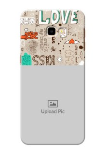 Samsung Galaxy J4 Plus Personalised mobile covers: Love Doodle Pattern