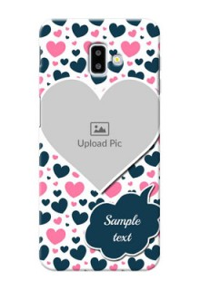 Samsung Galaxy J6 Plus Mobile Covers Online: Pink & Blue Heart Design