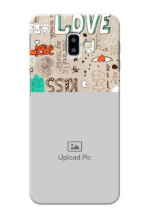 Samsung Galaxy J6 Plus Personalised mobile covers: Love Doodle Pattern