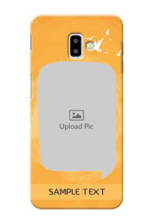 Samsung Galaxy J6 Plus Phone Covers: Water Color Design with Bird Icons