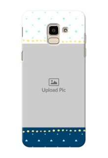 Samsung Galaxy J6 White And Blue Abstract Mobile Case Design