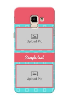 Samsung Galaxy J6 Pink And Blue Pattern Mobile Case Design