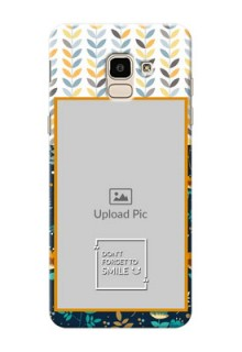 Samsung Galaxy J6 seamless and floral pattern design with smile quote Design
