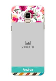 Samsung Galaxy J6 watercolour floral design with retro lines pattern Design