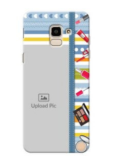 Samsung Galaxy J6 hand drawn backdrop with makeup icons Design