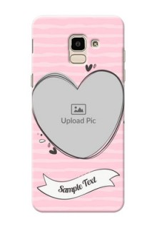 Samsung Galaxy J6 seamless stripes with vintage heart shape Design