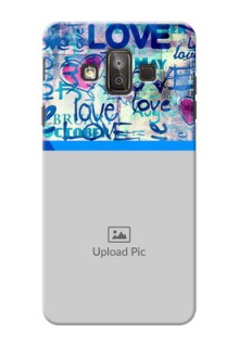 Samsung Galaxy J7 Duo Colourful Love Patterns Mobile Case Design