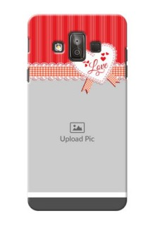 Samsung Galaxy J7 Duo Red Pattern Mobile Cover Design