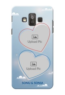 Samsung Galaxy J7 Duo couple heart frames with sky backdrop Design