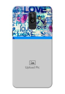 Samsung Galaxy J8 Colourful Love Patterns Mobile Case Design