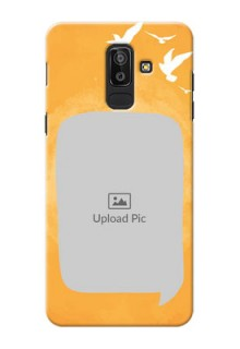 Samsung Galaxy J8 watercolour with bird icons and sample text Design